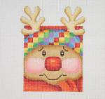 "BB 1822 Christmas Ornament / Mini-Rudolph Face 3.75"" x 2.5"" 18 Mesh Burnett And Bradley"