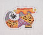 "BB 1896 Halloween / Mini-Witch Shoe / Orange & Purple / Spider 2.75"" x 3.5"" 18 Mesh  Burnett And Bradley"