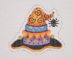 "BB 1897 Halloween / Mini- Witch Hat / Orange & Purple / Spider 18 Mesh 3"" x 3.25"" Burnett And Bradley"