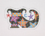 "BB 1898 Mini- Witch Shoe / Black with Moons & Stars 18 Mesh  2.25"" x 3.5"" Burnett And Bradley"