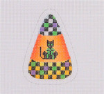 "BB 1914 Mini-Checked Multi-Colored Candy Corn Cat 18 Mesh 3"" x 2.25"" Burnett And Bradley"
