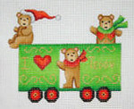"BB 2133	Christmas Ornament / Train / Box Car with Bears 4.5"" x 3.5"" 18 Mesh Burnett And Bradley"