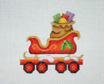 "BB 2134	Christmas Ornament / Train / Flat Car with Sleigh & Toy Bag  3.5"" x 3.5"" 18 Mesh Burnett And Bradley"