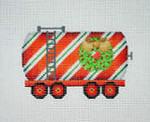 "BB 2135	Christmas Ornament / Train / Tank Car with Wreath 4"" x 3.5"" 18 Mesh Burnett And Bradley"
