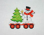 "BB 2136	Christmas Ornament / Train / Flat Car with Tree & Snowman 3.5"" x 3.5"" 18 Mesh Burnett And Bradley"