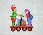 "BB 2139	Christmas Ornament / Train / Elf Car 3.5"" x 3.5"" 18 Mesh Burnett And Bradley"