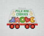 "BB 2140	Train / Milk Car with Christmas Cookies	14"" x 3.5"" 8 Mesh Burnett And Bradley"