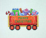 "BB 2141	Christmas Train / Gondola with Packages 4"" x 3.5""	18 Mesh Burnett And Bradley"