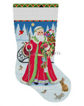 "0190 Santa Birdhouse Delivery, stocking 13 Mesh  19"" Susan Roberts Needlepoint"