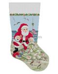 "0191 Santa, Sandcastle Christmas Tree, stocking 13 Mesh  19"" Susan Roberts Needlepoint"