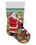 "0192 Santa, Nativity, stocking 19"" stocking 13 Mesh  Susan Roberts Needlepoint"