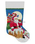 0193 Santa, Down The Chimney, Boy stocking 13 Mesh  Susan Roberts Needlepoint