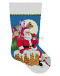 "0194 Santa, Down The Chimney, Girl stocking 13 Mesh  19"" h Susan Roberts Needlepoint"
