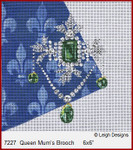 "7227 Queen Mum's Brooch CROWN JEWEL COASTERS 6 x 6"" Leigh Designs 18 Count French Blue canvas."