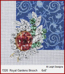 "7220 Royal Gardens Brooch CROWN JEWEL COASTERS 6 x 6"" Leigh Designs 18 Count French Blue canvas."