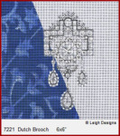 "7221 Dutch  Brooch CROWN JEWEL COASTERS 6 x 6"" Leigh Designs 18 Count French Blue canvas."