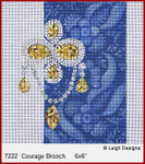 "7222 Courage  Brooch CROWN JEWEL COASTERS 6 x 6""  Leigh Designs 18 Count French Blue canvas."