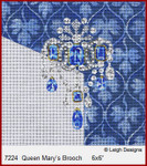 "7224 Queen Mary's Brooch CROWN JEWEL COASTERS 6 x 6""  Leigh Designs 18 Count French Blue canvas"