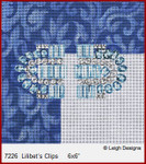 "7226 Lilibet's Clips CROWN JEWEL COASTERS 6 x 6"" Leigh Designs 18 Count French Blue canvas"