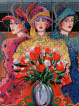 215 3 Ladies with Wildflowers 10.5 x 1618 Mesh Purple Palm