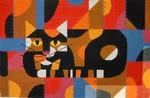 Charley Harper  Crazy Cat CH-C083 18 Mesh 16 x 10 Treglown Designs