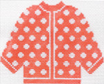 71 Orange w/ White Polka Dots Cardigan Ornament 5.5 x 4.513 Mesh Silver Needle Designs