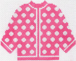 68 Hot Pink w/ White Polka Dots Cardigan Ornament	5.5 x 4.5	13 Mesh Silver Needle Designs