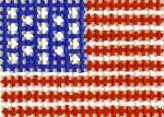 M1 American Flag Mini2 x 2  13  Mesh Silver Needle Designs