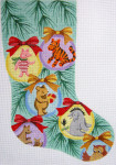 305	Pooh in Balls Christmas Stocking 	12 x 18	12  Mesh Silver Needle Designs