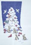 307 White Christmas Tree Stocking 12 x 1813 Mesh Silver Needle Designs