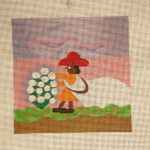 CH5 Cotton Picking, 6″ x 6″, 18 mesh Clementine Hunter