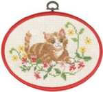 "925824 Permin Red Cat in Flowers  5.2"" x 7.2""; Ecru Aida; 11ct Flexi frame included"