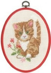 "925826 Permin Red Red Cat in Flowers  5.2"" x 7.2""; Ecru Aida; 11ct Flexi frame included"