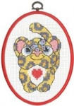 "925841 Permin Leopard - My First Kit; 5.2"" x 7.2""; White Aida; 8ct  Flexi frame included"