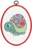 "925842 Permin Turtle - My First Kit 5.2"" x 7.2""; White Aida; 8ct  Flexi frame included"