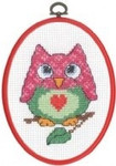 "925843 Permin Owl - My First Kit 5.2"" x 7.2""; White Aida; 8ct  Flexi frame included"