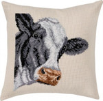 "836101 Permin Kit Cow Pillow Includes fabric for back.; 16"" x 16""; Ecru Aida ; 8ct"