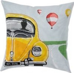 "836116 Permin Kit Yellow VW Bug Pillow Includes fabric for back.; 14"" x 14""; Blue Aida; 14ct"