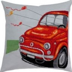 "836117 Permin Kit Red Fiat Pillow Includes fabric for back.; 14"" x 14""; Blue Aida; 14ct"