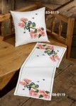 "836119 Permin Kit Flowers/Tits Pillow (Upper); Includes fabric for back.; 16"" x 16""; White Aida; 14ct"