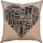 "836135 Permin Kit Love Pillow - Black Fabric for back not included.; 24"" x 24""; Natural Linen; 18ct"