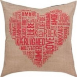 "836136 Permin Kit Love Pillow - Pink Fabric for back not included.; 24"" x 24""; Natural Linen; 18ct"