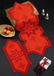 "754629 Permin Kit Star - Red Hardanger  Table Topper (back)  15"" x 42""; Hardanger; 22ct"