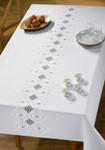 "582630 Permin Kit Table Cloth  55.6"" x 85.6""; Hardanger - White; 22ct"