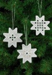 "015620 Permin Kit White Star Ornaments (Set of 3 assorted) 3"" x 3""; White Hardanger; 22ct"