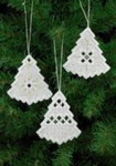 "015621 Permin Kit White Christmas Tree Ornaments (Set of 3 assorted) 3"" x 2.8""; White Hardanger; 22ct"