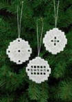 "015622 Permin Kit White Christmas Bulb Ornaments (Set of 3 assorted) 2.8"" x 2.8""; White Hardanger; 22ct"