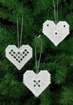 "015623 Permin Kit White Heart Ornament (Set of 3 assorted) 3"" x 2.8""; White Hardanger; 22ct"