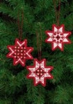 "015624 Permin Kit Red Star Ornaments (Set of 3 assorted) 3"" x 3""; White Hardanger; 22ct"