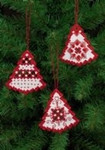 "015625 Permin Kit Red Christmas Tree Ornaments (Set of 3 assorted) 3"" x 3.2""; White Hardanger; 22ct"